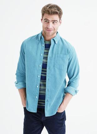Мужская вельветовая рубашка бирюзового цвета