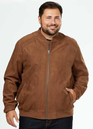 Батал! мужская куртка бомбер под замш французского бренда kiab...
