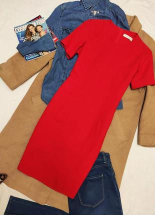 Маркс спенсер красное алое классическое платье футляр карандаш...
