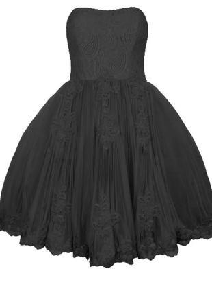 Черное кружевное платье бюстье с пышной юбкой пачкой