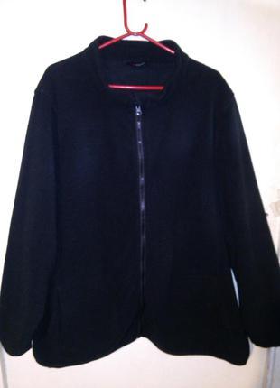 Чёрная толстовка-кардиган,кофта на флисе и молнии,с карманами,...