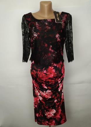 Платье новое шикарное эластичное с кружевной кокеткой uk 10/38/s