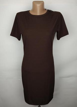 Платье новое коричневое эластичное в рубчик boohoo uk 14/42/l