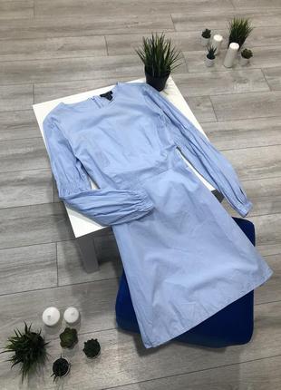Нежно-голубое хлопковое платье трапеция с длинным рукавом, нат...