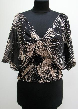 Стильная блузка летучая мышь нат шелк