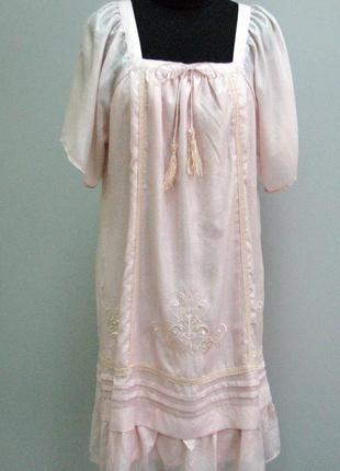 Zi zi платье-рубашка розовый крем вышивка, прошва народный стиль