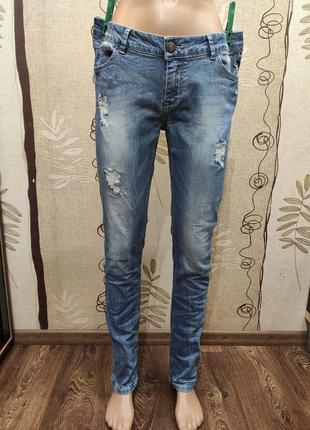 Skinny женские зауженные джинсы с потертостями W33 L32