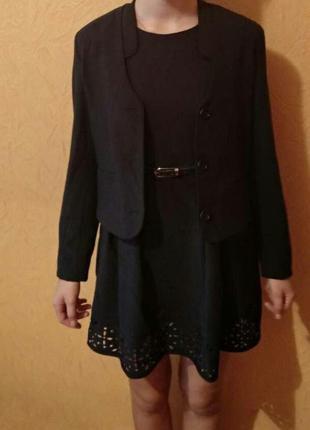 Школьная форма двойка-сарафан и пиджак темно синего цвета на р...
