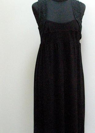 Twin set simona barbieri  черное платье с гипюровой вставкой н...