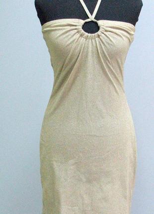 Маленькое трикотажное  золотое платье на подкладке