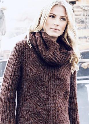 Тёплый вязанный свитер под горло хамут с отдельной горловиной