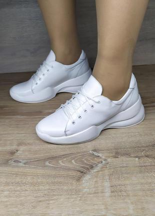 Белые кожаные кроссовки 37,38р (натуральная кожа, новые)