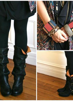 Брендовые шикарные итальянские кожаные сапоги ботинки на трех ...