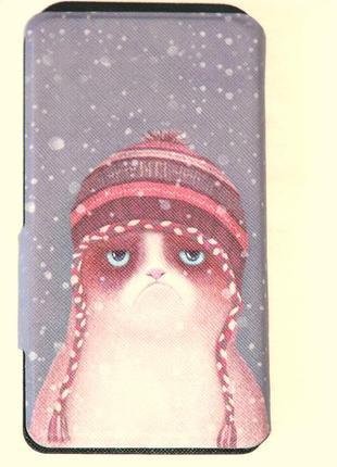 Зимний кот  чехол- книжка универсальная