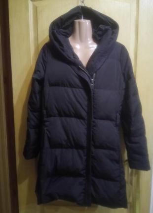 Натуральный пуховик куртка пальто с капюшоном