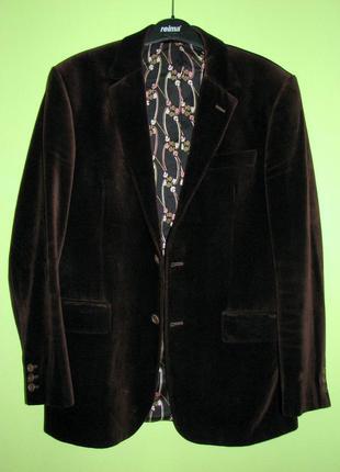 Tiger of siveden мужской бархатный пиджак  темный шоколад винтаж