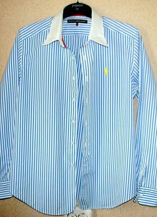 Ralph lauren sport белая рубашка в голубую полоску оригинал