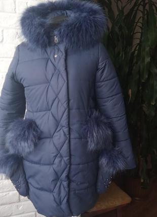 Теплая куртка с рукавичками р.152