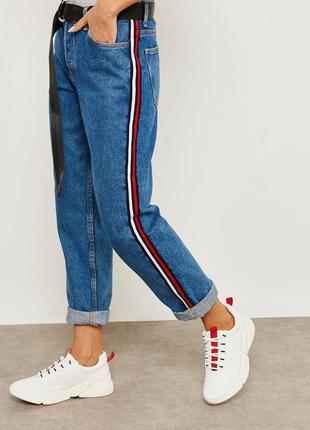 Джинсы с лампасами, высокая талия, mom jeans mango