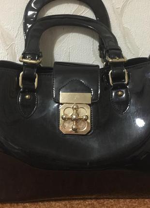 Кожаная лакированная сумка 👜в школу,на работу и офис