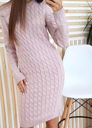 Шикарное вязаное теплое платье 👗