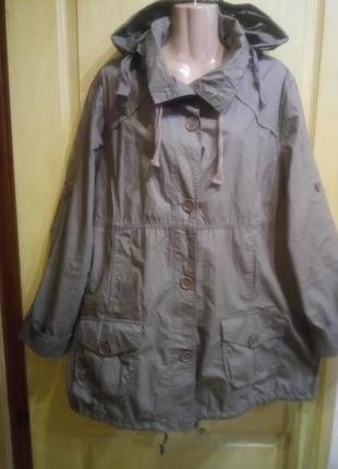 Котоновая фирменная куртка ветровка парка без подкладки большо...