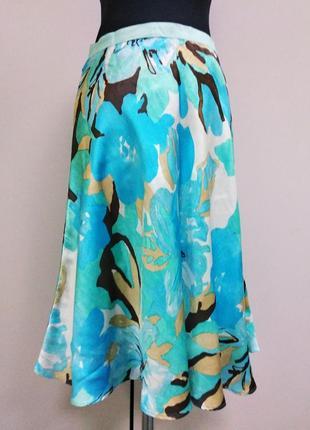 Banana republik  яркая бюрюзовая юбка натуральный шелк