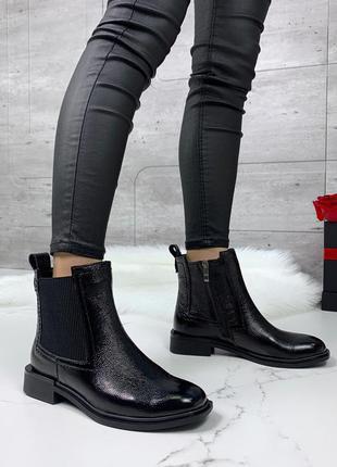 Лаковые кожаные ботинки челси,чёрные кожаные лакированные ботинки