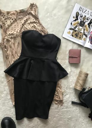 Фактурное чёрное платье бюстье