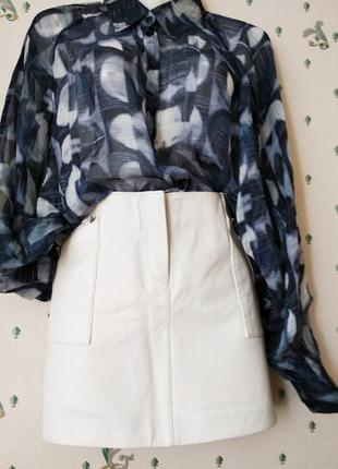 #morgan # белая юбка кожа винтаж накладные карманы