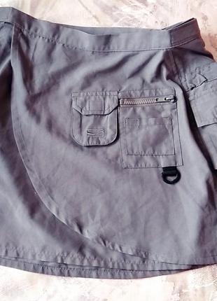 Coca cola серая юбка с запахом накладные карманы