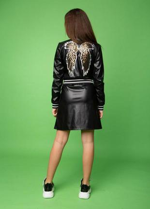 Стильная куртка бомпер и юбка из экокожи