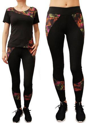 Женский комбинированный спорт костюм для тренировок,лосины с в...