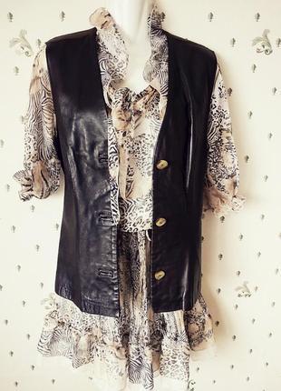 Бохо шик! комплект  натуральное платье +жилетка кожа