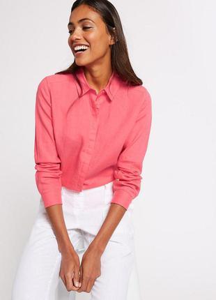 Льняная рубашка marks & spencer новая натуральная рубашка