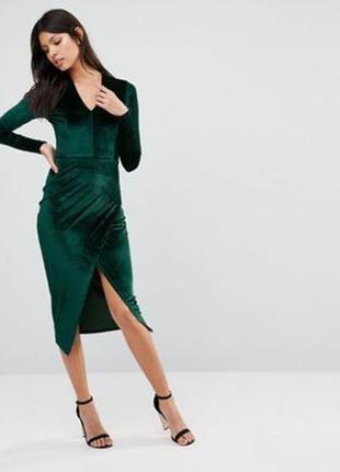Платье бархатное миди на запах изумрудного цвета club l размер s