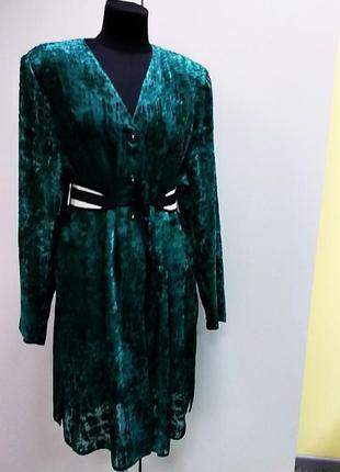 Зелёное платье накидка туника
