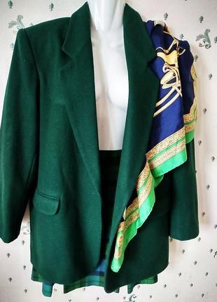 #зелёный шерстяной жакет оверсайз и# юбка клеткав складку винтаж