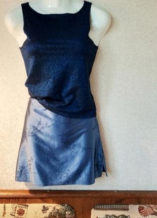 #тopshop  серо синяя юбка мини + синий топ