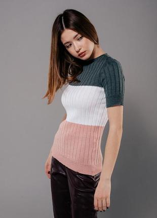 Вязаный женский джемпер с короткими рукавами, вязаная футболка