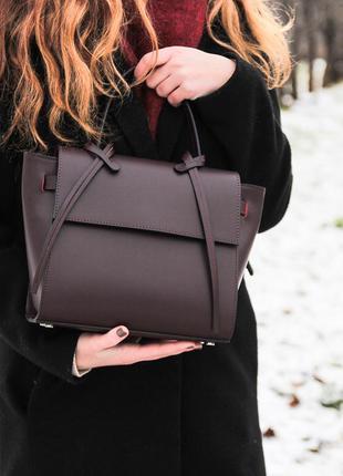 Женская кожаная сумка вера пелле италия люкс бордо