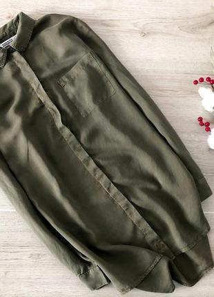 Невероятная длинная рубашка хаки zara
