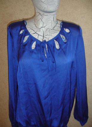 Фирменная нарядная блузка электрик на 50-52 размер шикарная