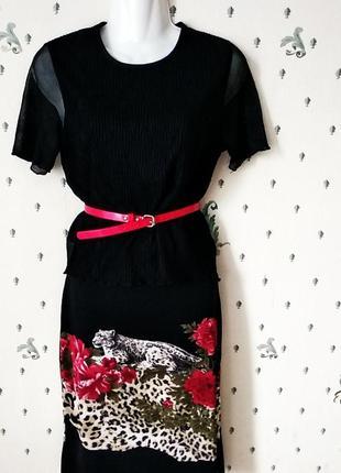 Юбка принт леопард в красных розах +  черный топ  италия р s