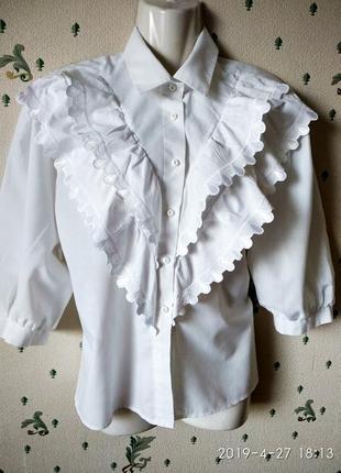 Белая блузка пышные рукава кружево р 46 -48