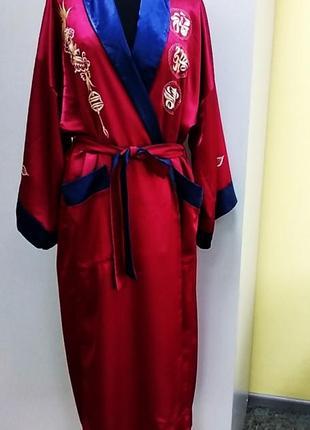 Люкс!красно бордовый с синим шелковый халат  вышивка