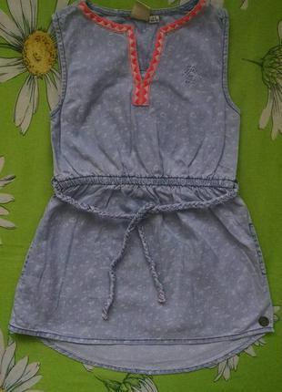 Джинсовый сарафан,платье для девочки  4-5 лет