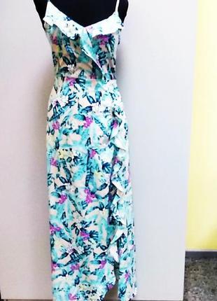 Длинное платье сарафан  с юбкой на запах. оборки