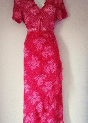 Vera mont   красная юбка с воланами + кофта винтаж р 48
