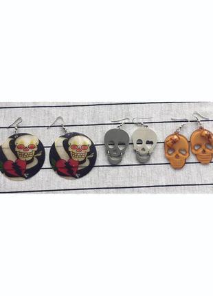Сережки, серьги, черепа, лот, набір, комплект.